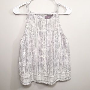 ANTHROPOLOGIE Embroidered Striped Tank Top Blouse